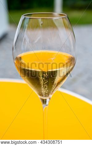 Tasting Of Brut Champagne Sparkling Wine During Visit Caves In Champagne House In Reims, France