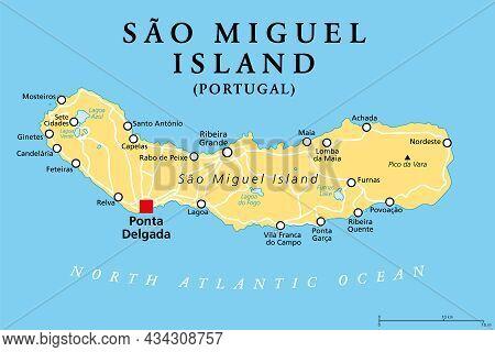 Sao Miguel Island, Azores, Portugal, Political Map, With Capital Ponta Delgada. Nicknamed The Green