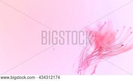 Abstract Aqua Particle Background,  Floating Pink Particles In Background