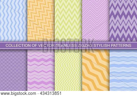 Collection Of Color Striped Seamless Patterns - Delicate Design. Textile Zigzag Textures - Unusual E