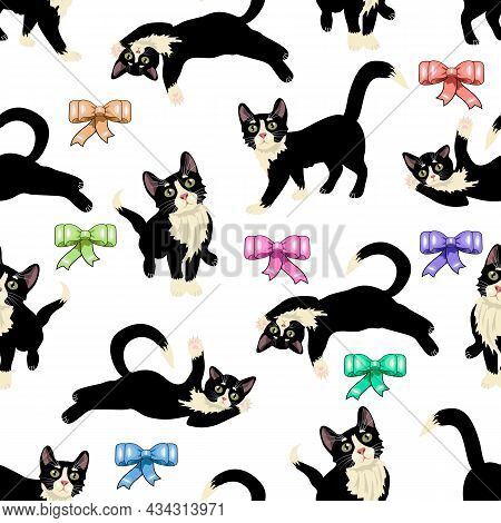 Pattern With Cats On A White Background.seamless Vector Pattern With Cats And Colored Bows On A Whit