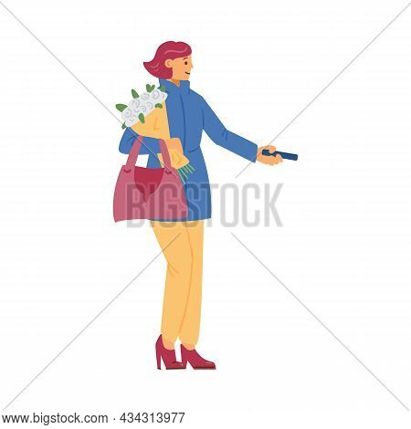 Cartoon Female Character Customer Holding Bouquet, Paying For Purchase In Flat Extra Vector Illustra