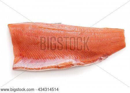 fresh raw salmon fillet isolated on white background