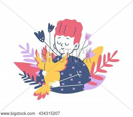 Decorative Banner With Child Embracing Parrot, Flat Vector Illustration Isolated.