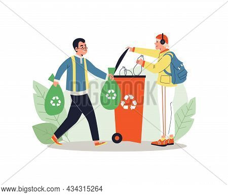 People Put Sorted Garbage In Recycling Bin, Flat Vector Illustration Isolated.