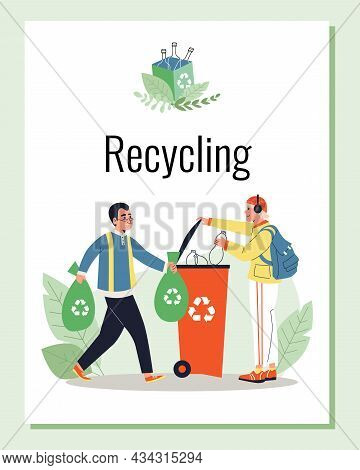 Recycling Poster With People Sort Waste For Recycle, Flat Vector Illustration.