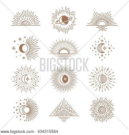 Line Moon And Sun. Drawing Saturn, Stars, Boho Style Moons Phases. Cosmic Outline Art, Crescent And