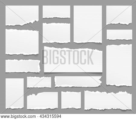 Torn Paper Sheets. Ripped Papers Strips, Isolated Piece Note Sheet With Rip Edge. Scrapbooking Eleme