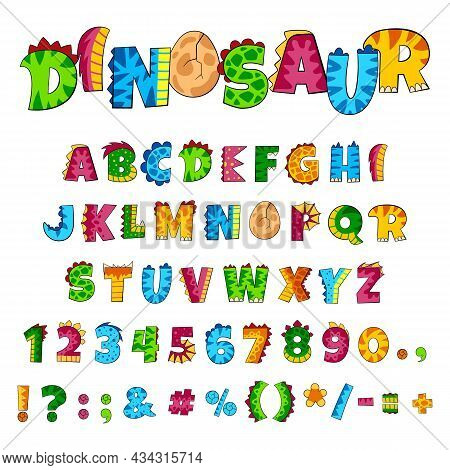 Dino Alphabet. Font Elements, Creative Dinosaur Style Letters And Numbers. Colorful Kids Abc, Funny
