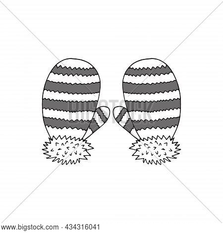 Mittens With Stripes. Hand Drawn Doodle Icon. Vector, Scandinavian, Nordic, Minimalism, Monochrome.