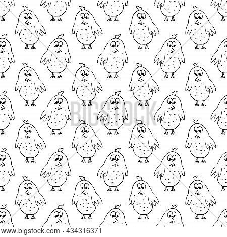 Birds Seamless Pattern Hand Drawn Doodle. Vector, Minimalism. Chickens, Cute Baby Print, Wallpaper,