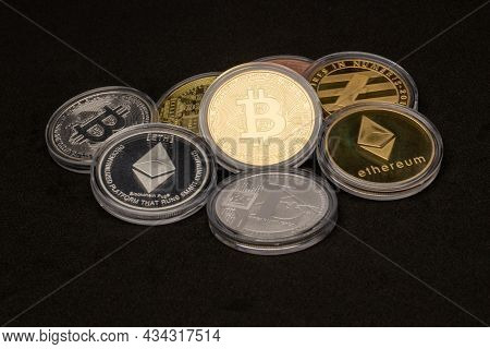 Ethereum And Bitcoin Coins Currency Finance Money Stack Together. Crypto Currency Background With Va
