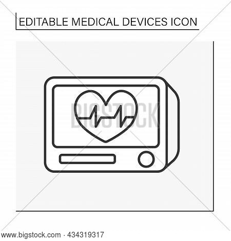 Medical Monitor Line Icon. Instrument Show Heartbeat, Breathing, And Health Data. Resuscitation. Med