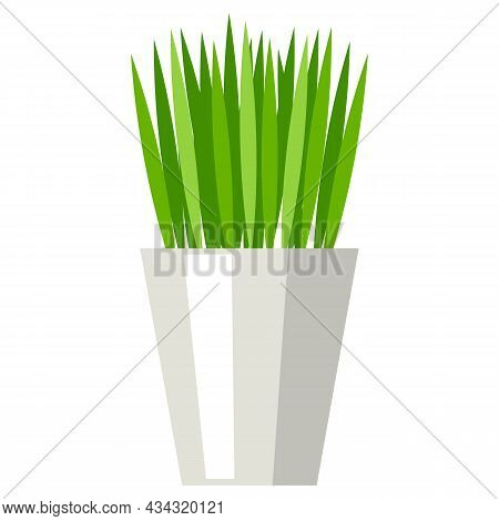 Stylized Illustration Of Grass In Pot. Image For Design Or Decoration.