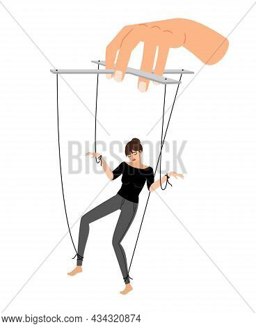 Girl Puppet. Woman Control Violence, Puppets Marionette Hand Manipulation, People Abused Vector Illu