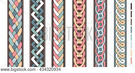 Braid Lines. Wicker Borders, Colored Knoted Patterns, Braided Intertwined Ropes, Vector Twist Stripe