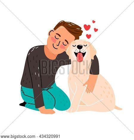 Boy Pet Love. Kid And Dog Vector Illustration, Children Puppy Friend, Pup Animal Owner Happy Child C