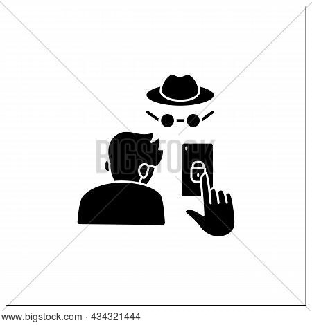 Smartphone Addiction Glyph Icon. Concealing Smartphone Use. Incognito Mode. Anonymous. Private Setti