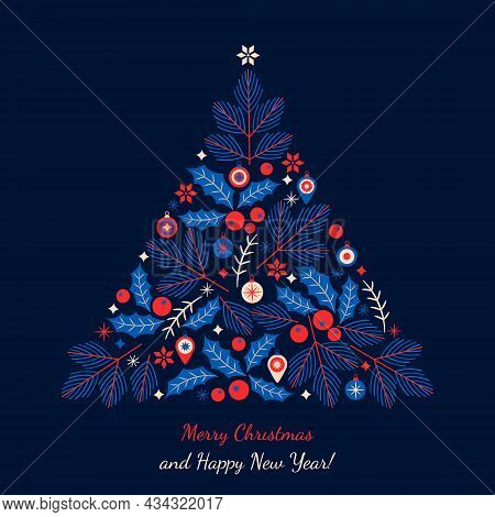 Merry Christmas And Happy New Year Greeting Card. Abstract Stylized Christmas Tree With Balls, Holly