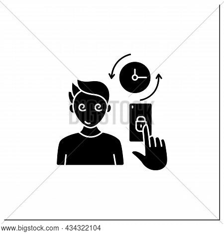 Smartphone Addiction Glyph Icon. Spend A Lot Of Time On Phone. Day And Night Sitting On The Internet
