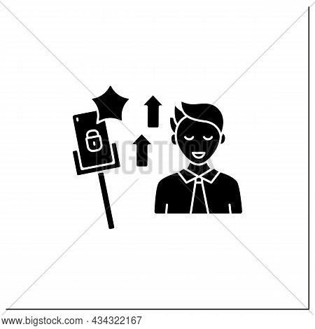 Smartphone Addiction Glyph Icon.encouraging Self Absorption. Rising Popularity. Overwhelmed Concept.