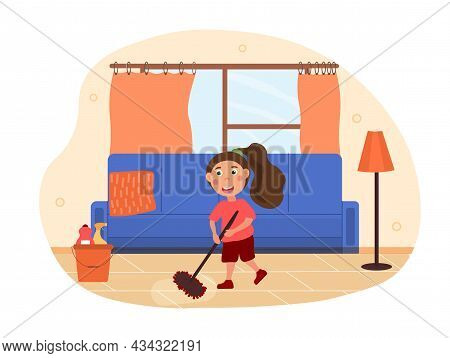 Kids Doing Housework Concept. Little Girl Holds Mop In Her Hands And Cleans Floor In Apartment. Hard