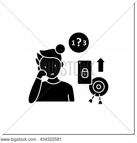 Smartphone Addiction Glyph Icon. Exacerbating Attention Deficit Disorders. Inability To Focus. Uncon