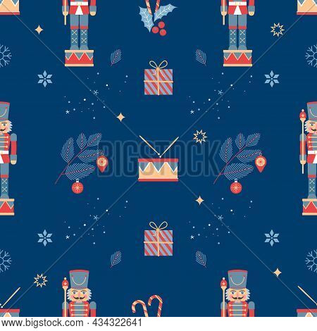 Christmas Seamless Background With Nutcracker, Christmas Tree And Snowflakes. Flat Vector Illustrati