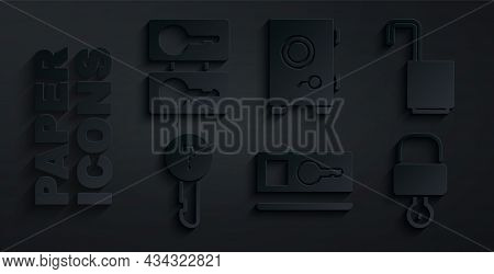 Set Key Card, Open Padlock, Undefined Key, Lock And, Safe And Casting Keys Icon. Vector