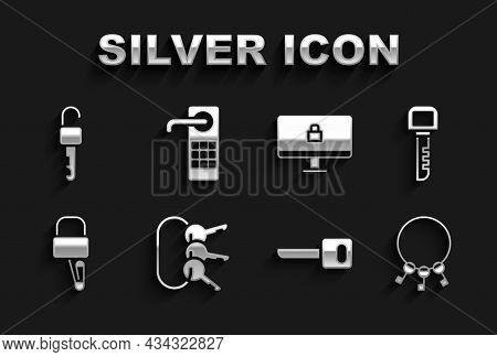 Set Bunch Of Keys, Key, Lock Picks For Lock Picking, On Computer Monitor, Unlocked And Digital Door