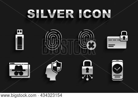 Set Head With Shield, Credit Card Lock, Smartphone, Cyber Security, Browser Incognito Window, Cancel