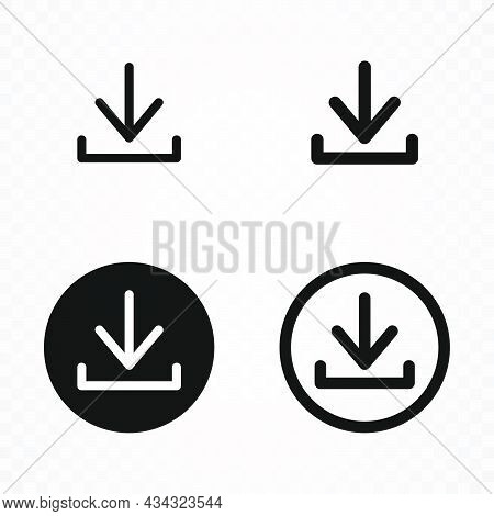 Download Icon. Set Of Download Icon And Pictogram Isolated On Transparent Background. Download Linea