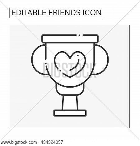 Best Friend Line Icon. Golden Cup For A Perfect Friend. Prize For Pal.friends Line Icon. Isolated Ve