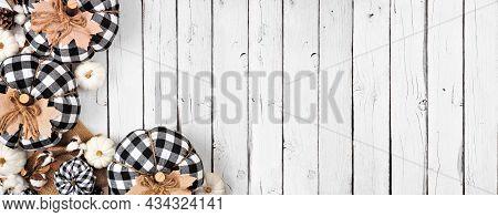 Modern Farmhouse Fall Corner Border Over A White Wood Banner Background. Black And White Buffalo Pla