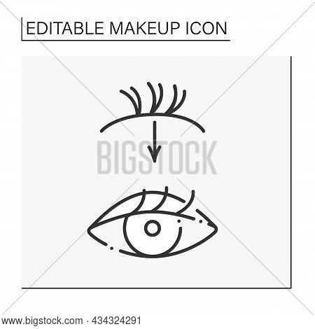 Eyelash Extension Line Icon. Applying Individual Synthetic Lashes Onto Natural Eyelash.adding Extra