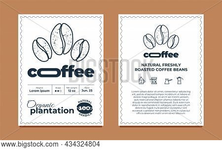 Coffee Packaging Label Design Template Set. Organic Plantation Graphic Modern Tag Or Sticker For Bra