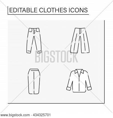 Clothes Line Icons Set. Trendy Outfits. Jeans, Midi Skirt, Oversized Shirt, Palazzo Trousers. Fashio
