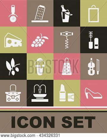 Set Woman Shoe, Violin, Mascara Brush, Bottle Of Wine Bucket, Grape Fruit, Cheese, Pizza Knife And W