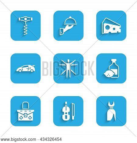 Set Vitruvian Man, Violin, Woman Dress, Limoncello Bottle, Handbag, Sport Racing Car, Cheese And Win