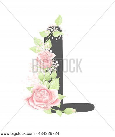 Vector Floral Alphabet Letter L With Pink Cream Rose Flowers And Green Leaves