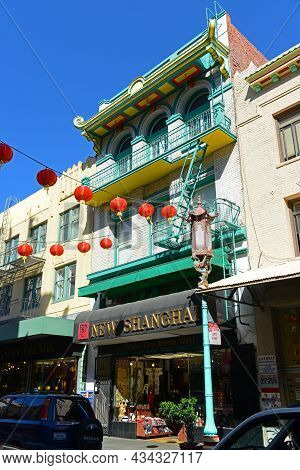 San Francisco - Mar. 15, 2014: Antique Chinese Style Commercial Buildings On 736 Grant Avenue Near C