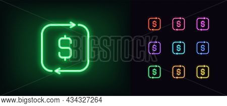 Outline Neon Cashback Icon. Glowing Neon Cash Back Sign, Money Return Pictogram In Vivid Colors. Inv