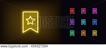 Outline Neon Bookmark Icon With Star. Glowing Neon Bookmark Sign, Favorites Pictogram In Vivid Color