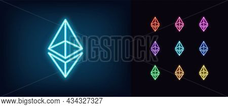 Outline Neon Ethereum Icon. Glowing Neon Ethereum Sign, Cryptocurrency Logo In Vivid Colors. Crypto