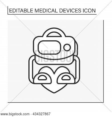 Defibrillator Line Icon. Apparatus Controls Heart Fibrillation. Resuscitation. Emergency. Medical De