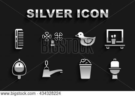 Set Water Tap, Washbasin Mirror, Toilet Bowl, Bucket With Soap Suds, Urinal Pissoir, Rubber Duck, Ha
