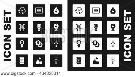 Set Water Energy, Light Bulb With Lightning, Wind Turbine, Battery Recycle, Lightning Bolt, Electric
