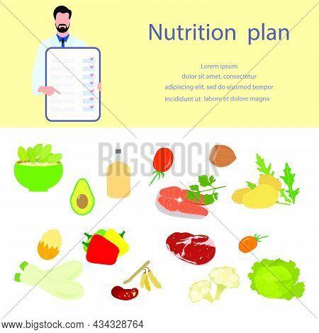 Vector Illustration Nutritional Consultant Tells Nutrition Plan. Proper Nutrition Organic Meal Plann