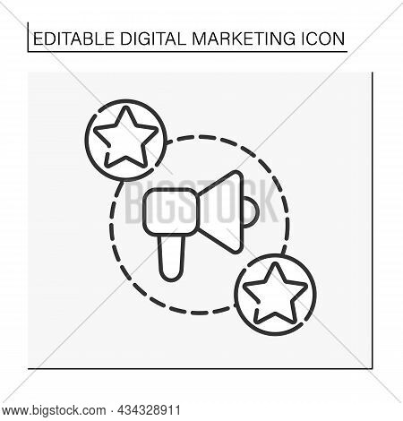 Influencer Marketing Line Icon. Social Media Marketing. Endorsements And Product Placement From Infl