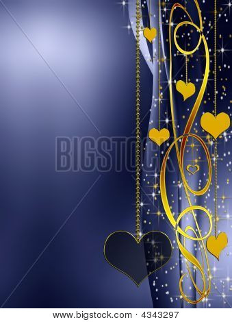 Elegant blue valentines background with golden hearts and stars poster
